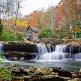 Grist Mill, Waterfall and Pool by Ed Shanahan - Buildings & Architecture Public & Historical ( new river gorge bridge, fall leaves, improve photography, babcock state park, fall, color, colorful, nature )