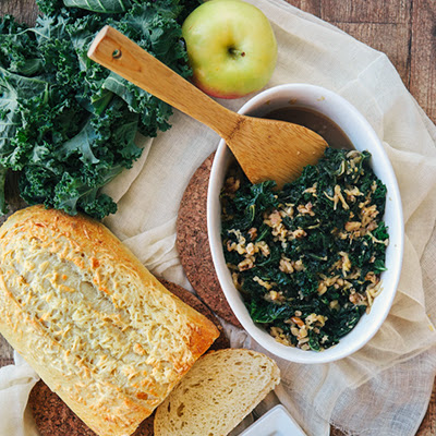 Sweet Braised Kale with Apples and Nuts