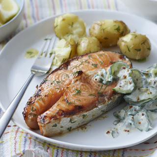 Dilled Baked Salmon Steaks