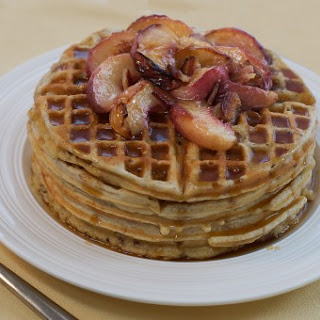 Bacon Maple Sugar Waffles with Roasted Peaches