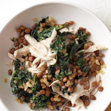 Shredded Chicken with Kale and Lentils