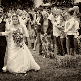 Sami's dad walked her down the aisle. by Joe Saladino - Wedding Ceremony ( monochrome, wedding, ceremony, bride, father )