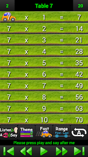 Talking Times Tables 2-12 - screenshot