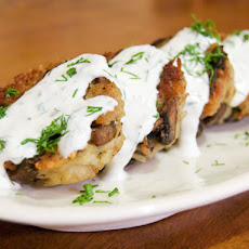 Mushroom-Rice Fritters with Lemon-Dill Sour Cream
