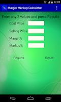 Screenshot of Margin Markup Calculator