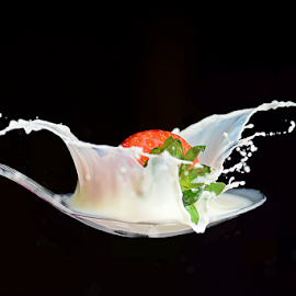 Strawberry Milk by Mike S Candleghost - Food & Drink Fruits & Vegetables ( splash, high speed photography, milk, strawbbery, nikon )