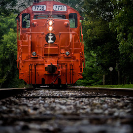 7738 in color by Ted Petrovits - Transportation Trains ( railroad tracks, red, engine, railroad, locomotive, train, 7738 )