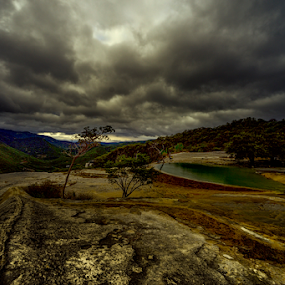Sunrise at Hierve el Agua by Cristobal Garciaferro Rubio - Landscapes Prairies, Meadows & Fields ( clouds, hierve el agua, rise, mexico, oaxaca )