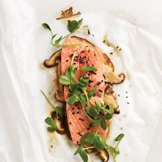 Sesame Salmon with Shiitake Mushrooms and Pea Shoots