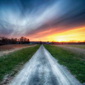 To Woo A Waiting Sky by Jim Crotty - Landscapes Prairies, Meadows & Fields ( beavercreek township, greene county, april, jim crotty, journey, beauty, road, landscape, spring, rural, farm, sky, ohio nature photography, ohio, sunset, peace, dayton, xenia )