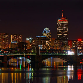 The Prudential Skyline 01 by Jeff Stallard - City,  Street & Park  Skylines ( tower, prudential building, boston, charles river, massachusetts )
