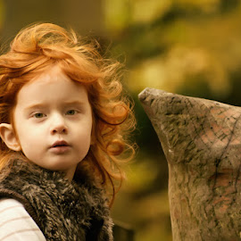 Mini Sessions by Dominic Lemoine Photography - Babies & Children Child Portraits ( looking, girl, ginger, wales, autumn, light, bokeh, hair )