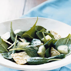 Spinach Salad with Tamarind Dressing and Pappadam Croutons