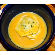 Butternut Squash Soup with Spinach Ravioli
