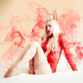 Red Hot by Ian Pettigrew - People Fashion ( stockings, blonde, red, hot, nylons, smoke )