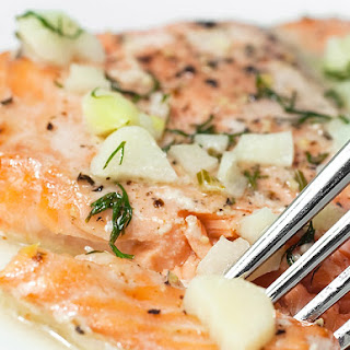 Baked Salmon with White Wine Dill Sauce
