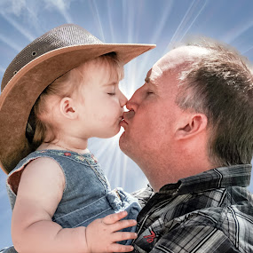 Kissing Dad by Angelica Glen - Novices Only Portraits & People ( love, kiss, girl, hug, daughter, sunshine, father, , improving mood, moods, red, the mood factory, inspirational, passion, passionate, enthusiasm )