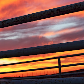 Cattle Pens 4 by Cheryl Petretti - Novices Only Landscapes ( mariposa, sunset, cattle pens, cowboy up!, fire in the sky )