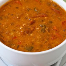 African Inspired Crockpot Soup with Peanut Butter, Chiles, Brown Rice, and Lentils