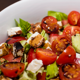 Salad by Daniel Ciolac - Food & Drink Plated Food ( salad, tomato, appetizing, colorful, cherry tomatoes, half, summer salads, food photography, cheese, fresh, half cuts, tomato salads, mixed, lunch, saladbowl, cuts, green leaves, green, white, vegetables, tomatoes, cherry, vinegar, food, food shots )