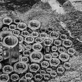 The Town by Bogdan Rusu - Black & White Abstract ( abstract, black and white, nut, town, landscape )