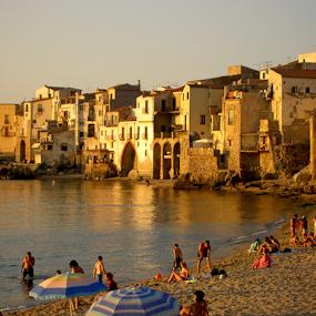 Cefalu, Sicily at Dusk by Rita Colantonio - Landscapes Beaches