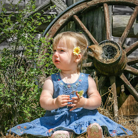 Farm girl by Angelica Glen - Novices Only Portraits & People ( child, farm, girl, wheel, hay, wagon, flower )
