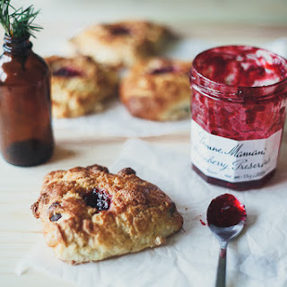 Marzipan Dark Chocolate Scones With Raspberry Jam