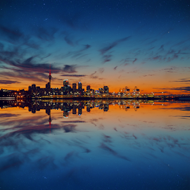 Skyline at Dusk ... by Anupam Hatui - City,  Street & Park  Skylines ( reflection, skyline, landscape, dusk, city, golden hour,  )
