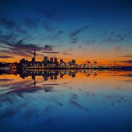 Skyline at Dusk ... by Anupam Hatui - City,  Street & Park  Skylines ( reflection, skyline, landscape, dusk, city, golden hour,  )