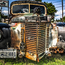Angry Hams Toeing (4) by John Hoey - Transportation Automobiles ( hdr, vintage, truck, angry' ham's garage restaurant bar & grill, antique )