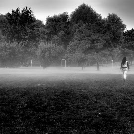 Fog by Greg Brzezicki - Landscapes Travel ( girls, gras, b&w, park, fog,  )