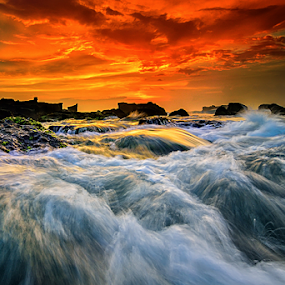 rush by Raung Binaia - Landscapes Waterscapes ( bali, indonesia, sunset, beach, waterflow )