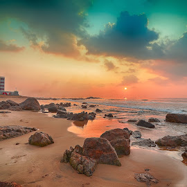 ____Rise & Shine____ by Navin Bahirwani - Landscapes Sunsets & Sunrises ( light house, sunrise, beach, seascape, nature rock )