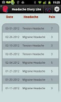 Screenshot of Headache Diary Lite