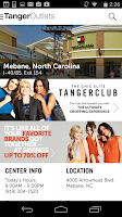 Screenshot of Tanger Outlets