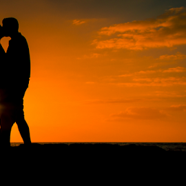 Sunset Kiss 2 by Leah Varney - People Couples ( kissing, sunset, romantic, landscape photography, couple, improving mood, moods, red, love, the mood factory, inspirational, passion, passionate, enthusiasm )
