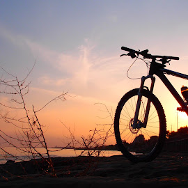 Have a break by Theodoros Theodorou - Transportation Bicycles ( limassol, cube acid 29er, cycling, sunset, cyprus, bicycle )