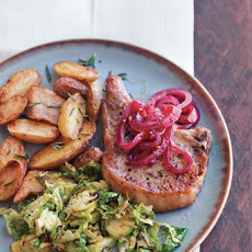 Panfried Pork Chops with Pickled Red Onions and Thyme