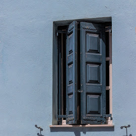 blue shutters by Vibeke Friis - Buildings & Architecture Architectural Detail ( window, shutters,  )