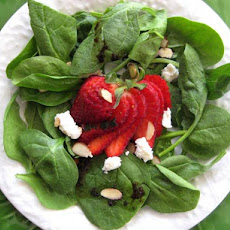 Spinach and Strawberry Salad With Feta Cheese and Balsamic Vinai