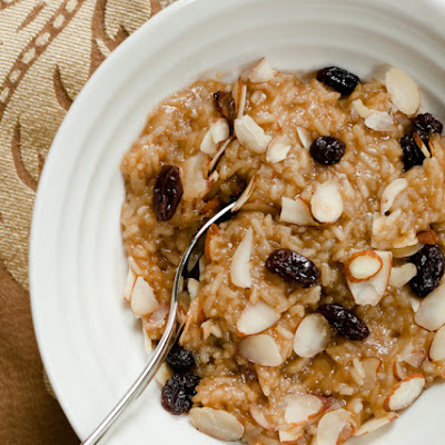 Coconut Sticky Rice with Almonds and Raisins