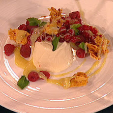 Honey Parfait With White Chocolate Sauce And Honeycomb