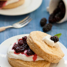 Brown Sugar Shortcakes with Olallieberries and Lemon Verbena Cream