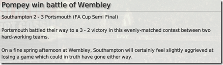 FM 2008, But it happened so that The Saints lost with 2:3 score which was really embarrassing and disappointing