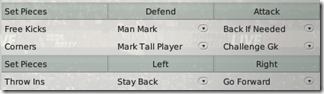 Central defender instructions for Football Manager 2008