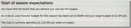 I set up 'Winning title' and got $50M for transfers for that