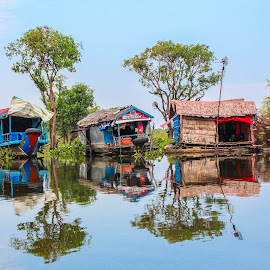 Homes Afloat by Jane McMenamin - Buildings & Architecture Homes ( water, village, floating, homes, cambodia )