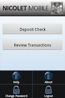 Screenshot of Nicolet Mobile Deposit