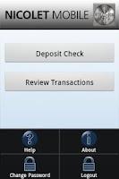 Screenshot of Nicolet Mobile Deposit